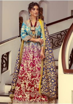 Traditional Festive Blue & Purple Made to Order Bridal HAB-060
