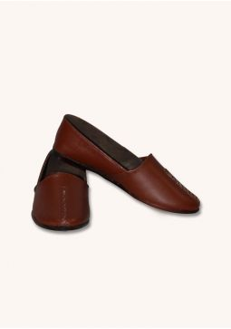 Basic Leather Dark Brown Cut Shoes