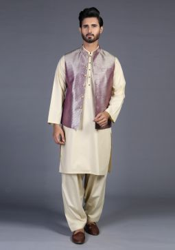 Classic Jamawar Purple Magic Traditional Waistcoat