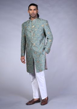 Sea spary Trad Raw Silk sherwani