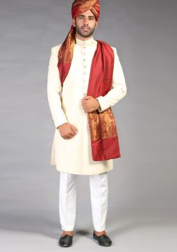Classic Jamawar Maroon Plain Traditional Turban