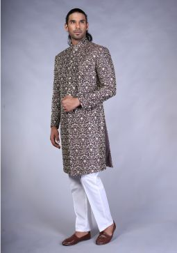 Charcoal Raw silk Trad ME sherwani