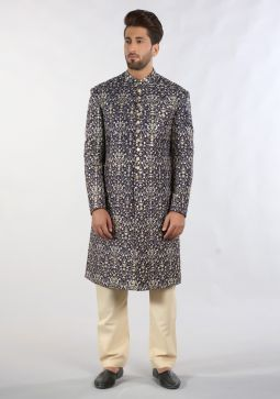 Premium Messori Navy Blue Classic Fit Sherwani
