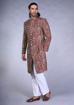 Premium Messori Maroon Raw Silk Trad Machine Embroidered Sherwani