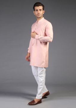 Classic Poly Viscose Plain Rose Cloud Modern Fit Kurta