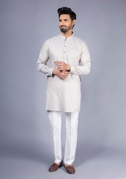 Classic Poly Viscose Plain Mushroom Modern Fit Kurta