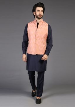 Classic Jamawar Muted clay Traditional Waistcoat