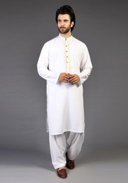Classic Poly Viscose Blanc de Blanc Classic Fit Embroidered Suit