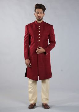 Cabernet Traditional Plain Raw-Silk Sherwani