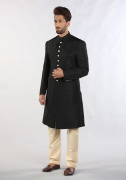 Caviar Traditional Plain Raw-Silk Sherwani