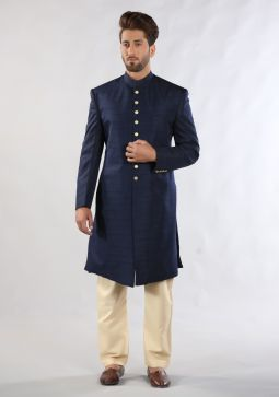 Mood Indigo Traditional Plain Raw-Silk Sherwani
