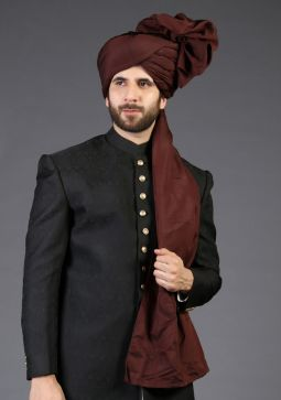Deep Mahogany Classic Plain Raw Silk turban