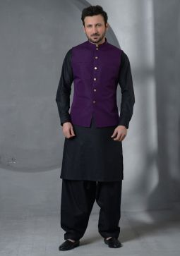 Purple Pennant Traditional plain Raw Silk waistcoat