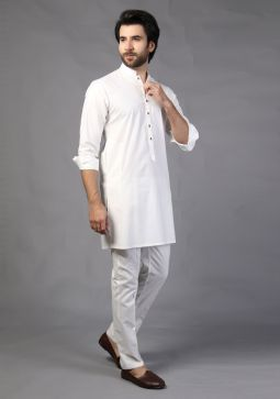 Basic Cotton Slim Fit Cloud Dancer Plain Suit
