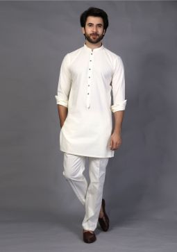 Basic Cotton Slim Fit Coconut Milk Plain Suit