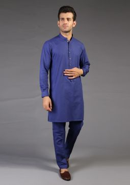 Basic Cotton Royal Blue Classic Fit Suit