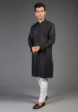Basic Poly Viscose Moonless Night Classic Fit Kurta