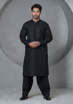 Basic Cotton Anthracite Classic Fit Plain Suit
