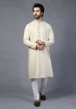Basic Poly Viscose Creme Brule Classic Fit Embroidered Kurta