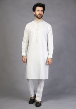 Basic Poly Viscose Foggy Dew Classic Fit Embroidered Kurta
