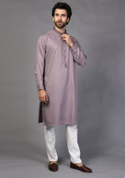 Basic Poly Viscose Zinc Classic Fit Embroidered Kurta