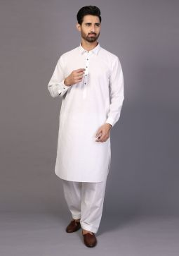 Classic Cotton Cloud Dancer Classic Fit Plain Suit