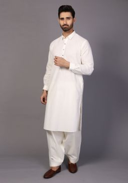 Classic Cotton Coconut Milk Classic Fit Plain Suit
