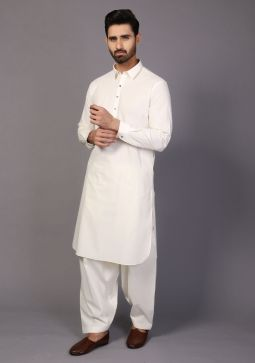Classic Cotton Coconut Milk Slim Fit Plain Suit