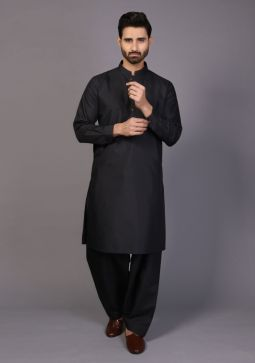 Classic Poly Viscose Caviar Slim Fit Plain Suit