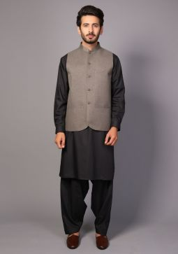 Classic Jute Granite Gray Traditional Waistcoat