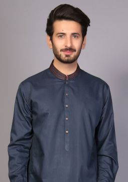 Classic Poly Viscose Atlantic Deep Classic Fit Embroidered Suit