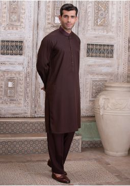 Classic Poly Viscose Coffee Bean Classic Fit Embroidered Suit