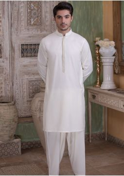 Classic Poly Viscose Vanilla Ice Classic Fit Embroidered Suit