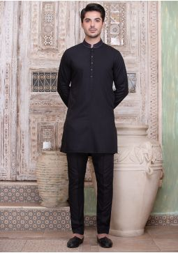 Classic Poly Viscose Jet Black Slim Fit Embroidered Suit