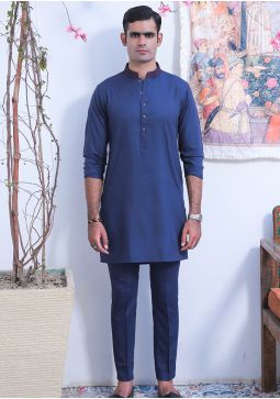 Classic Poly Viscose Reflecting Pond Slim Fit Embroidered Suit