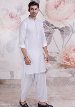 Classic Cotton Silk Cloud Dancer Classic Fit Embroidered Suit