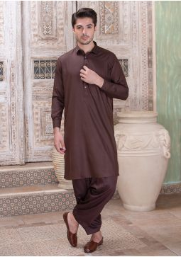 Classic Poly Viscose Cofee Bean Classic Fit Plain Suit