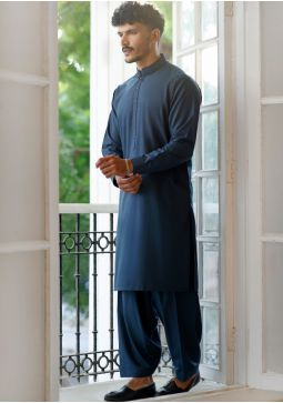 Basic Poly Viscose SailorBlue Classic Fit Embroidered Suit