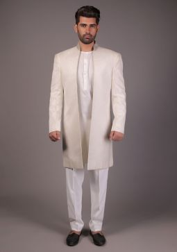 Off White Jamawar Traditional Front Open Classic Fit Sherwani-Large